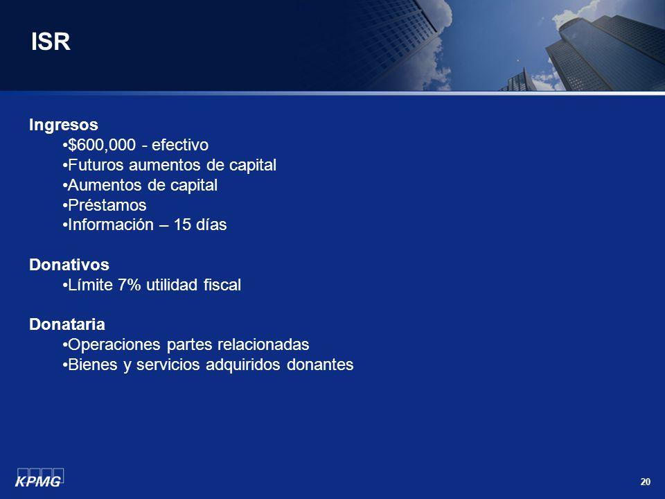 ISR Ingresos $600,000 - efectivo Futuros aumentos de capital