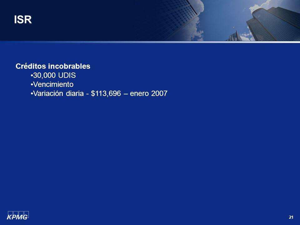 ISR Créditos incobrables 30,000 UDIS Vencimiento