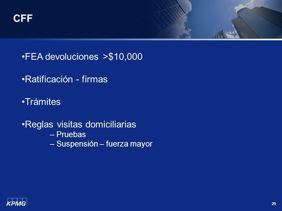 CFF FEA devoluciones >$10,000 Ratificación - firmas Trámites