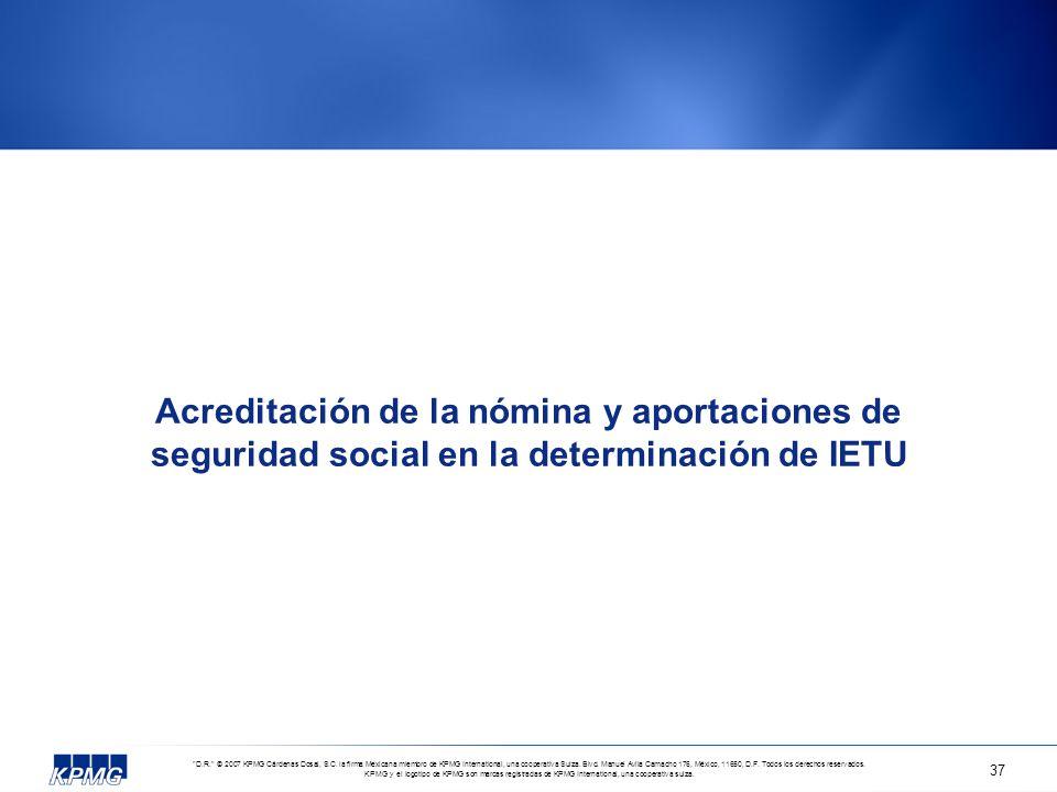 Acreditación de la nómina y aportaciones de seguridad social en la determinación de IETU