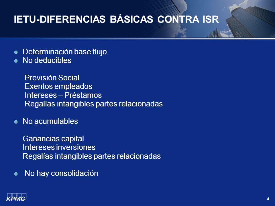 IETU-DIFERENCIAS BÁSICAS CONTRA ISR