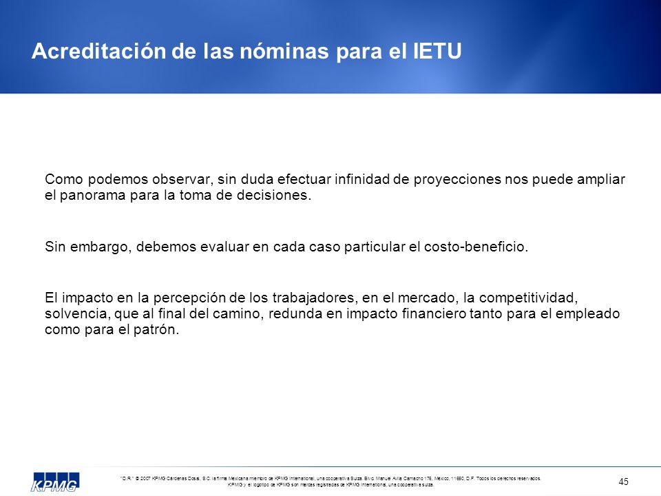 Acreditación de las nóminas para el IETU