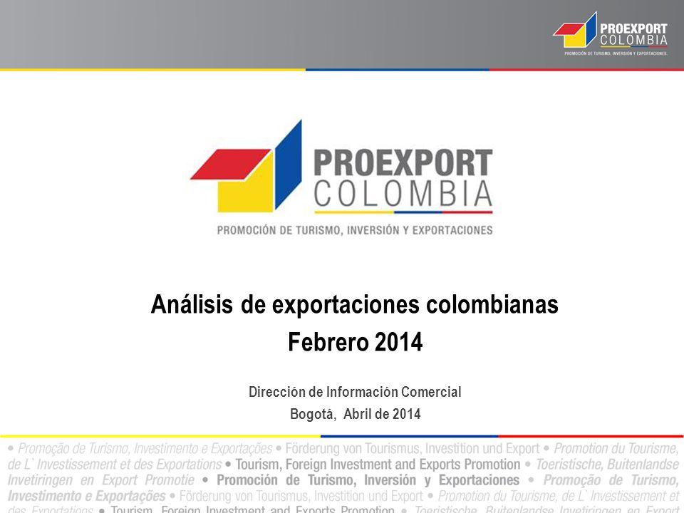 Análisis de exportaciones colombianas Febrero 2014