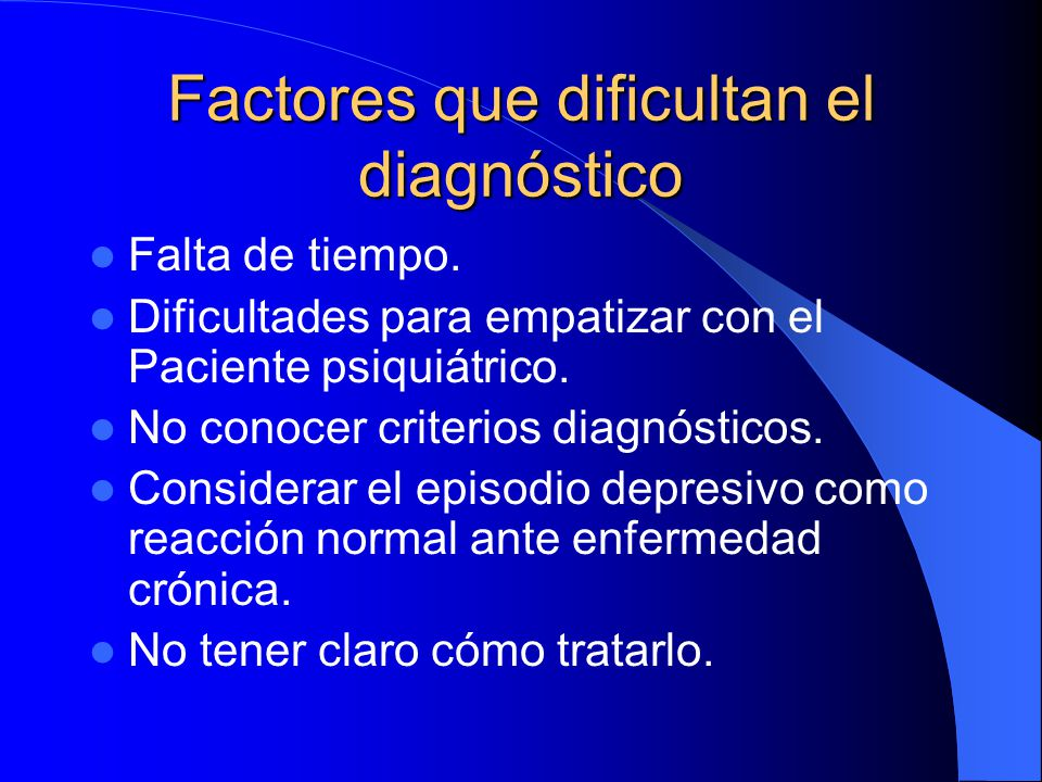 Factores que dificultan el diagnóstico