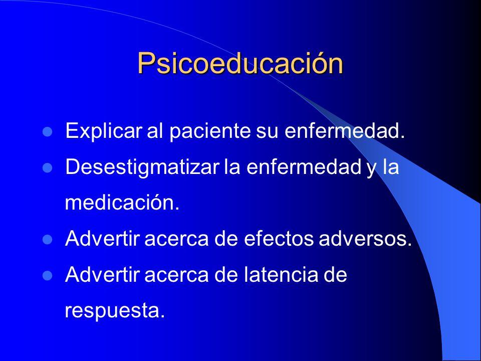 Psicoeducación Explicar al paciente su enfermedad.