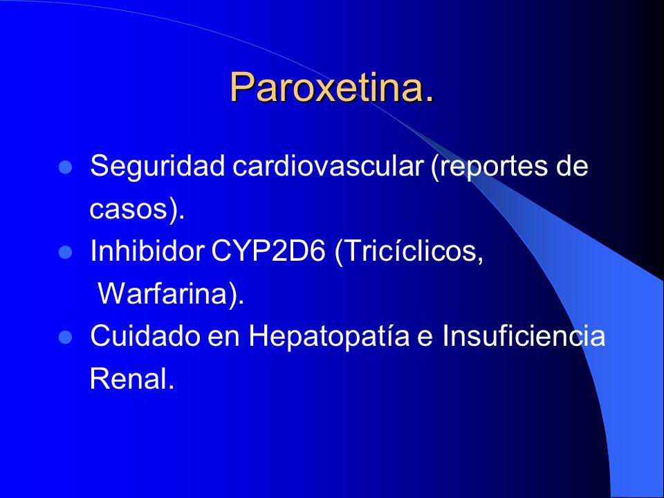 Paroxetina. Seguridad cardiovascular (reportes de casos).