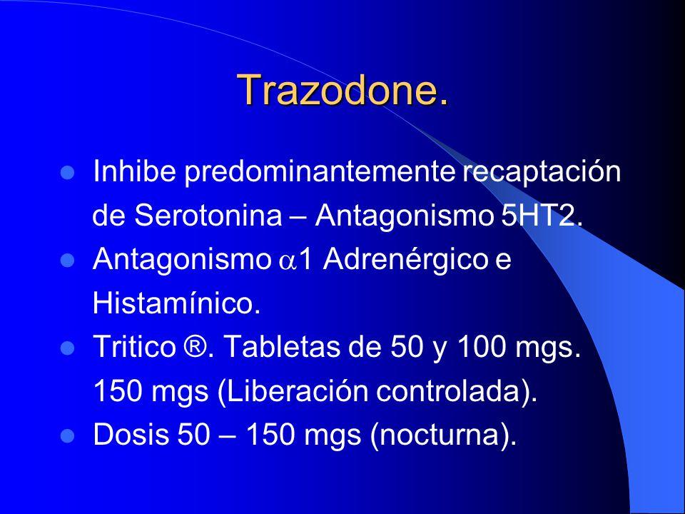 Trazodone. Inhibe predominantemente recaptación