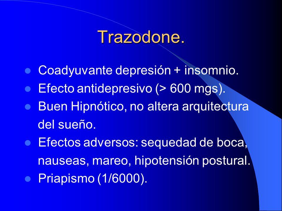 Trazodone. Coadyuvante depresión + insomnio.