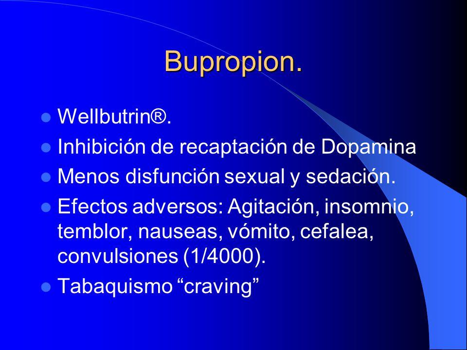 Bupropion. Wellbutrin®. Inhibición de recaptación de Dopamina