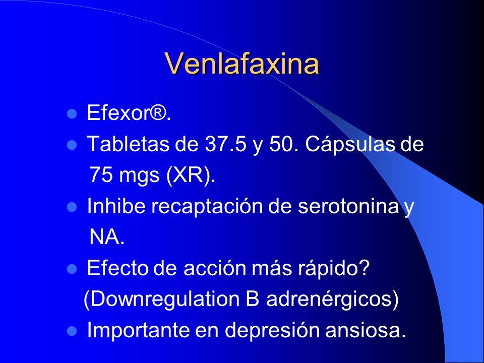 Venlafaxina Efexor®. Tabletas de 37.5 y 50. Cápsulas de 75 mgs (XR).