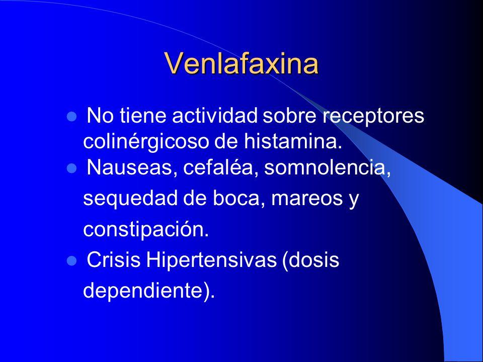 Venlafaxina No tiene actividad sobre receptores