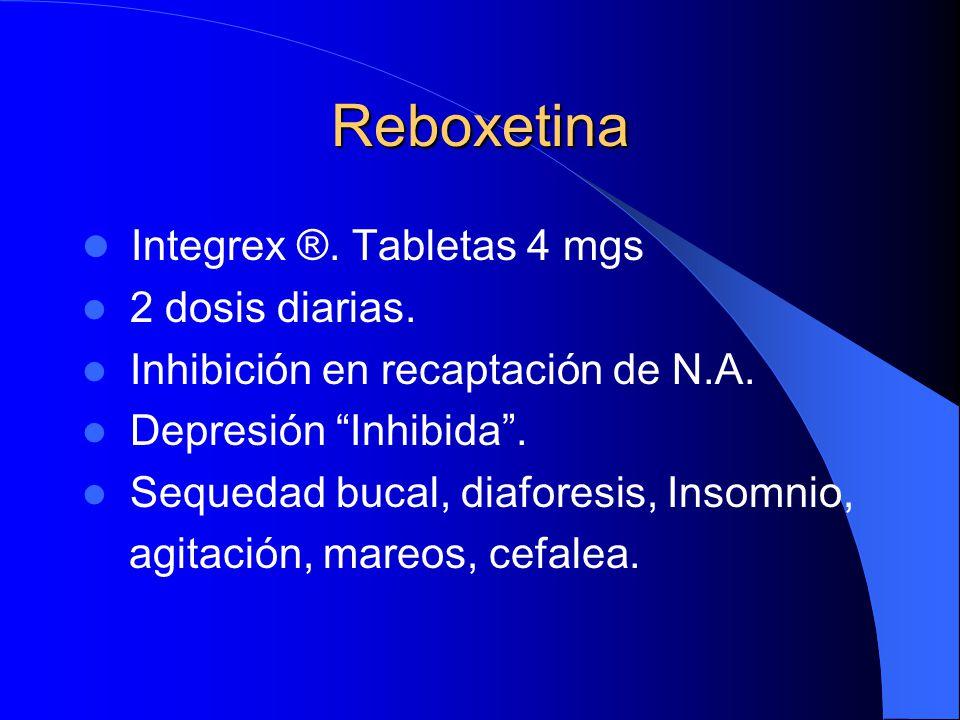 Reboxetina Integrex ®. Tabletas 4 mgs 2 dosis diarias.