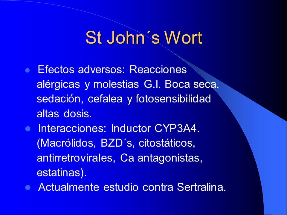 St John´s Wort alérgicas y molestias G.I. Boca seca,