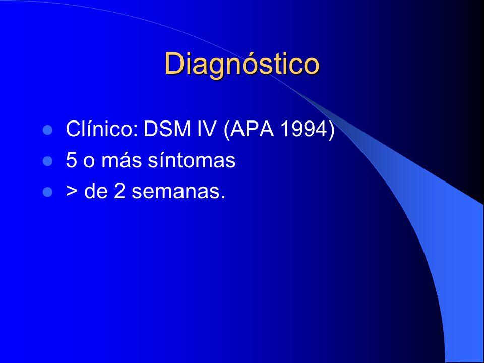 Diagnóstico Clínico: DSM IV (APA 1994) 5 o más síntomas