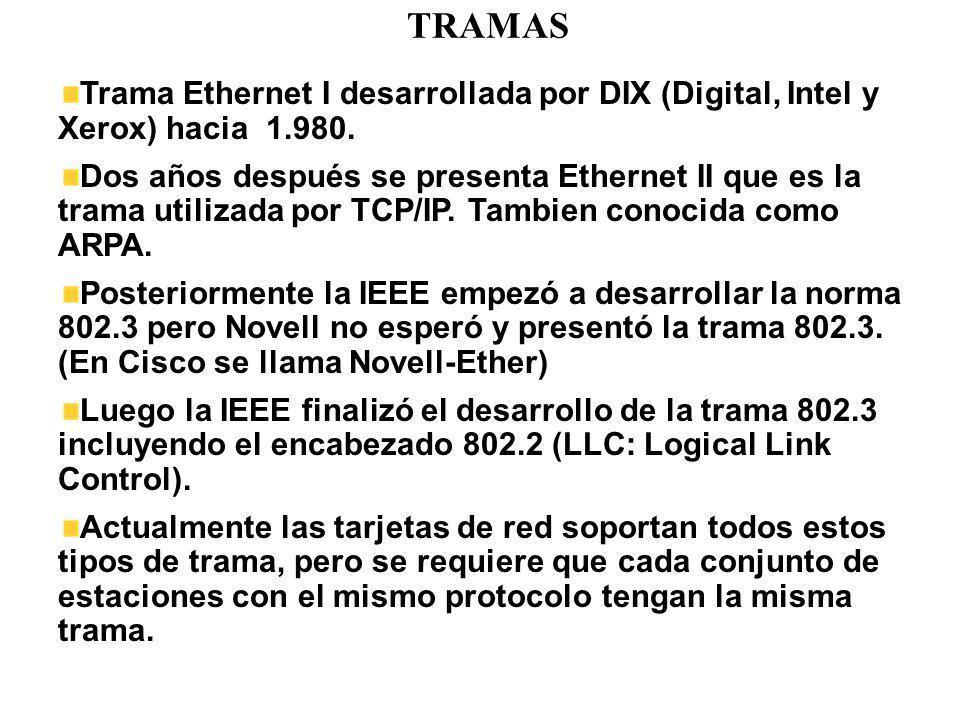 TRAMAS Trama Ethernet I desarrollada por DIX (Digital, Intel y Xerox) hacia 1.980.