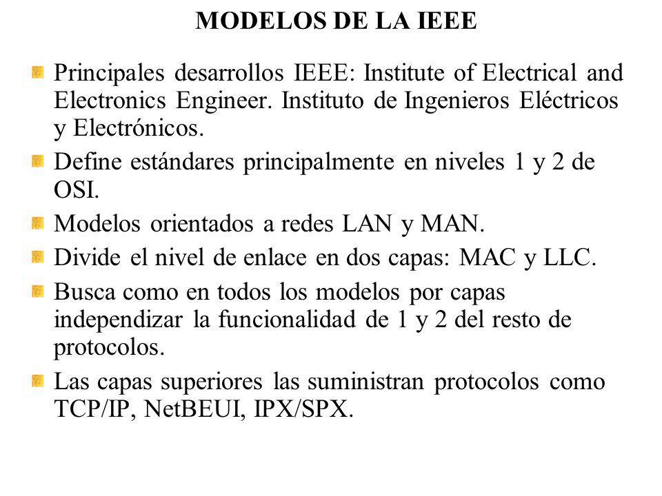 MODELOS DE LA IEEE Principales desarrollos IEEE: Institute of Electrical and Electronics Engineer. Instituto de Ingenieros Eléctricos y Electrónicos.