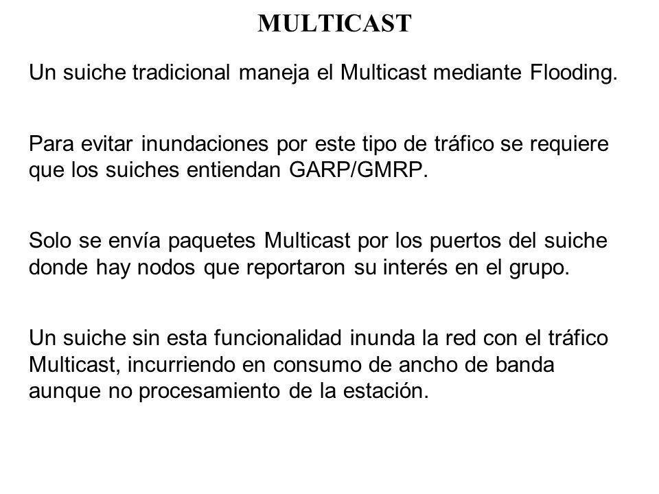 MULTICAST Un suiche tradicional maneja el Multicast mediante Flooding.