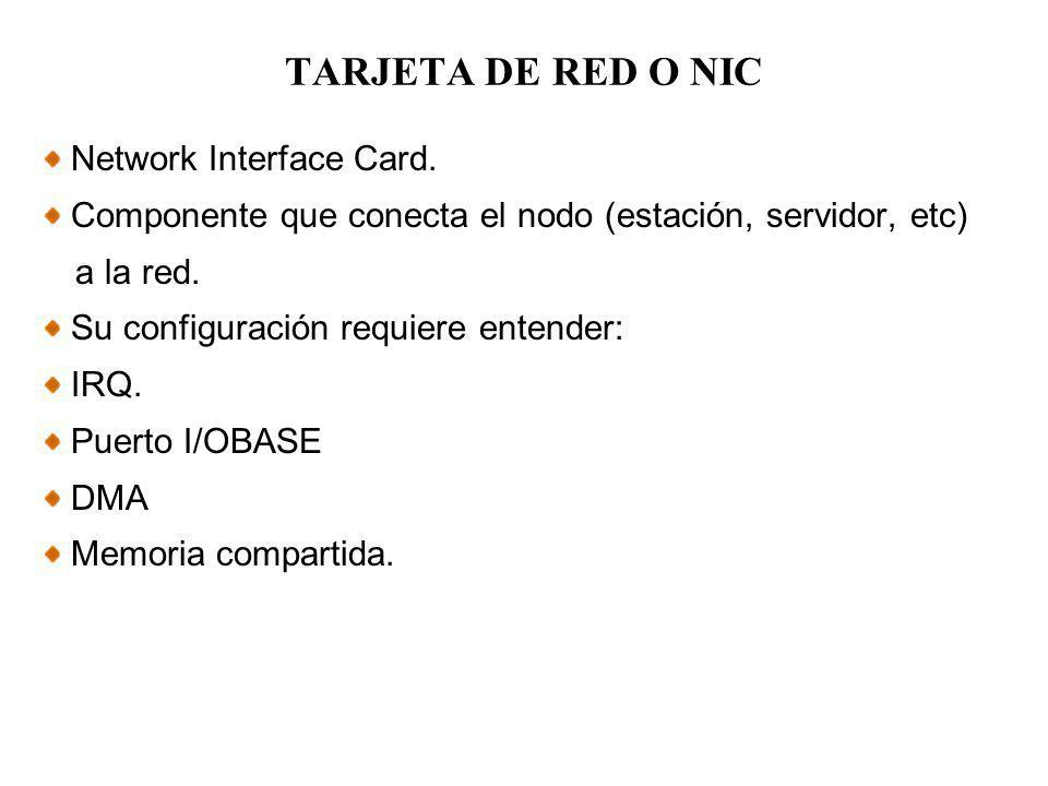 TARJETA DE RED O NIC Network Interface Card.