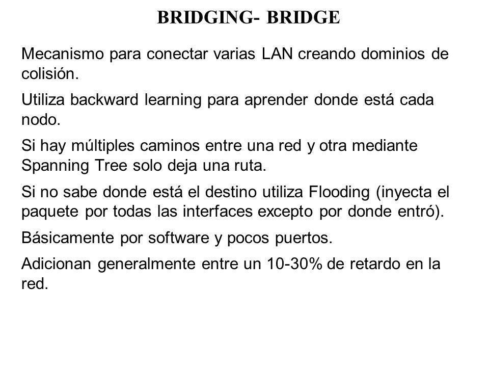 BRIDGING- BRIDGE Mecanismo para conectar varias LAN creando dominios de colisión. Utiliza backward learning para aprender donde está cada nodo.