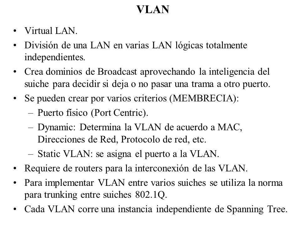 VLAN Virtual LAN. División de una LAN en varias LAN lógicas totalmente independientes.