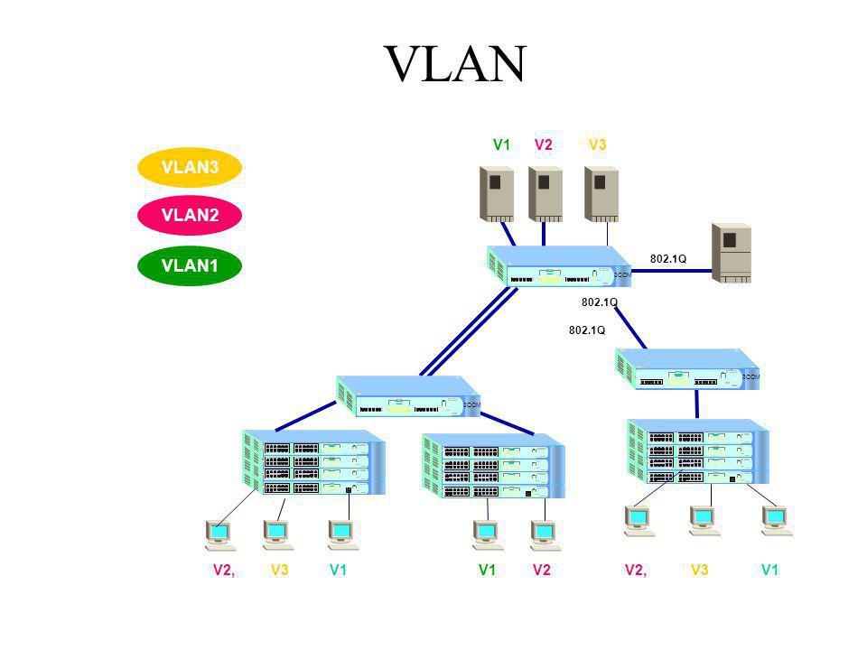 VLAN VLAN3 VLAN2 VLAN1 V1 V2 V3 V2, V3 V1 V1 V2 V2, V3 V1