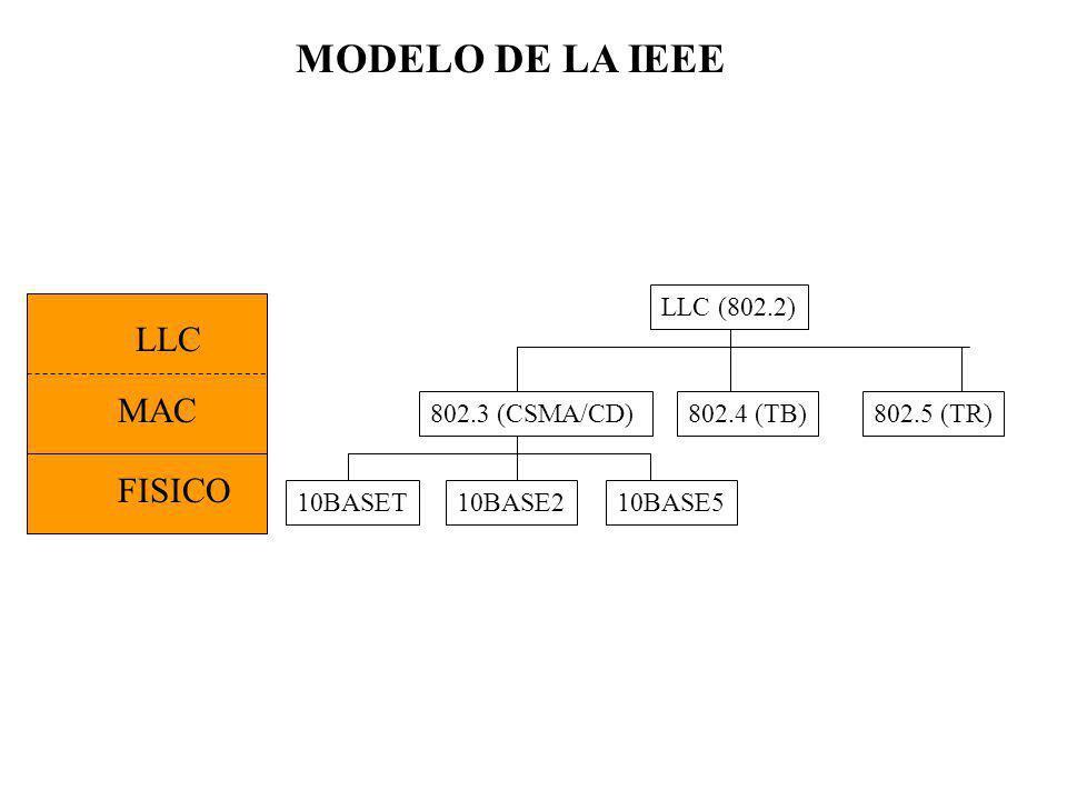 MODELO DE LA IEEE LLC MAC FISICO LLC (802.2) 802.3 (CSMA/CD) 10BASET