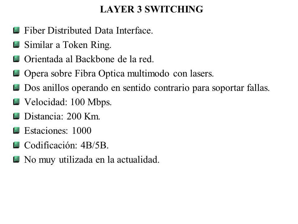 LAYER 3 SWITCHING Fiber Distributed Data Interface. Similar a Token Ring. Orientada al Backbone de la red.