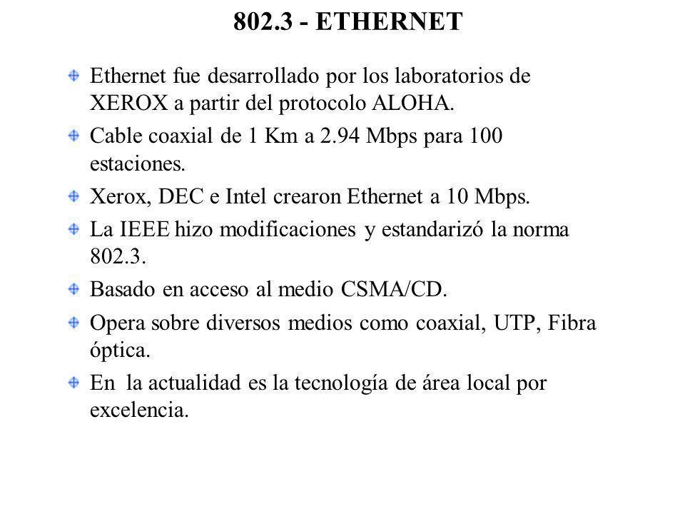 802.3 - ETHERNET Ethernet fue desarrollado por los laboratorios de XEROX a partir del protocolo ALOHA.