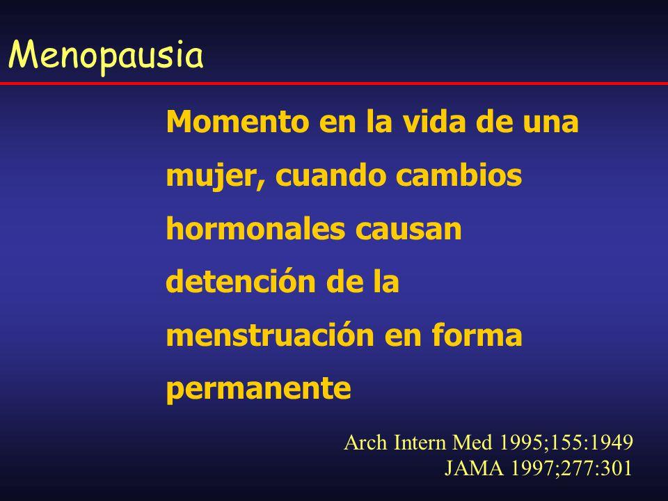 Menopausia Momento en la vida de una mujer, cuando cambios hormonales causan detención de la menstruación en forma permanente.