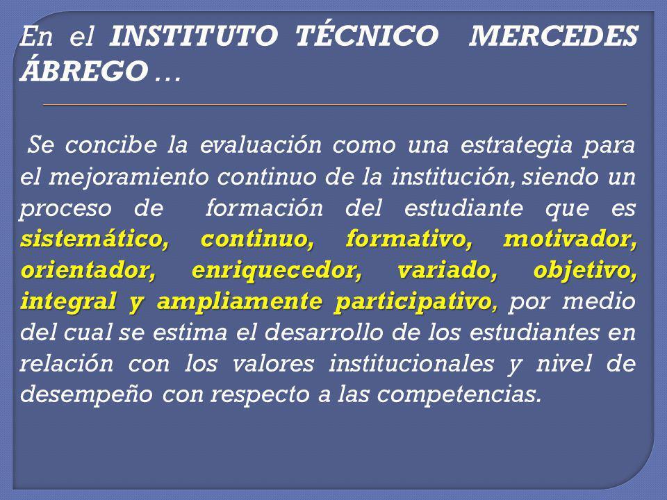 En el INSTITUTO TÉCNICO MERCEDES ÁBREGO … Se concibe la evaluación como una estrategia para el mejoramiento continuo de la institución, siendo un proceso de formación del estudiante que es sistemático, continuo, formativo, motivador, orientador, enriquecedor, variado, objetivo, integral y ampliamente participativo, por medio del cual se estima el desarrollo de los estudiantes en relación con los valores institucionales y nivel de desempeño con respecto a las competencias.