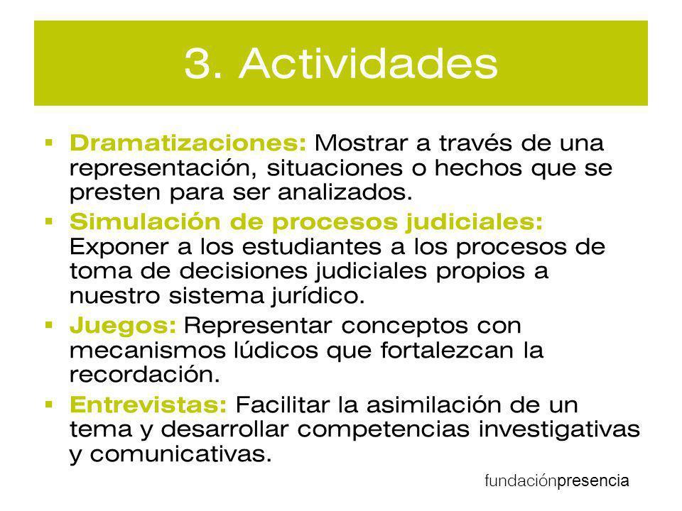 3. Actividades Dramatizaciones: Mostrar a través de una representación, situaciones o hechos que se presten para ser analizados.