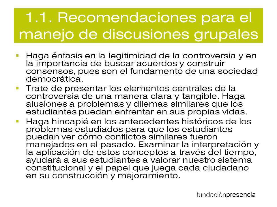 1.1. Recomendaciones para el manejo de discusiones grupales