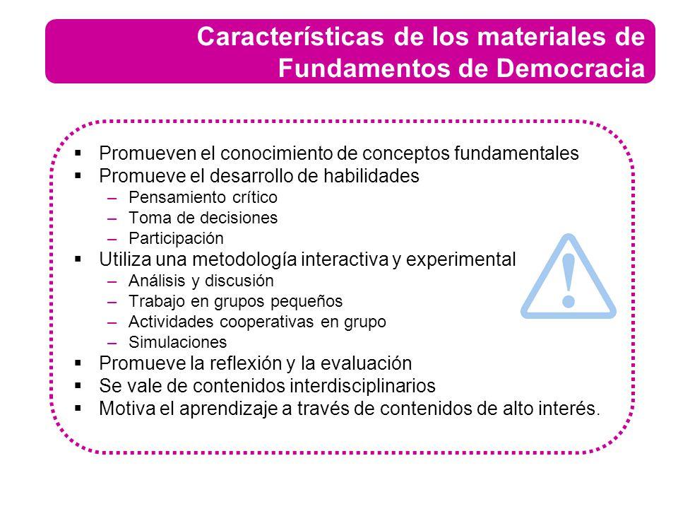 Características de los materiales de Fundamentos de Democracia