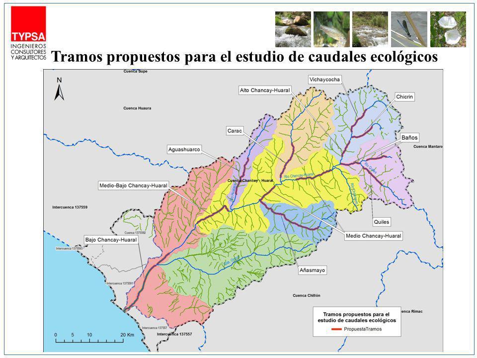Tramos propuestos para el estudio de caudales ecológicos