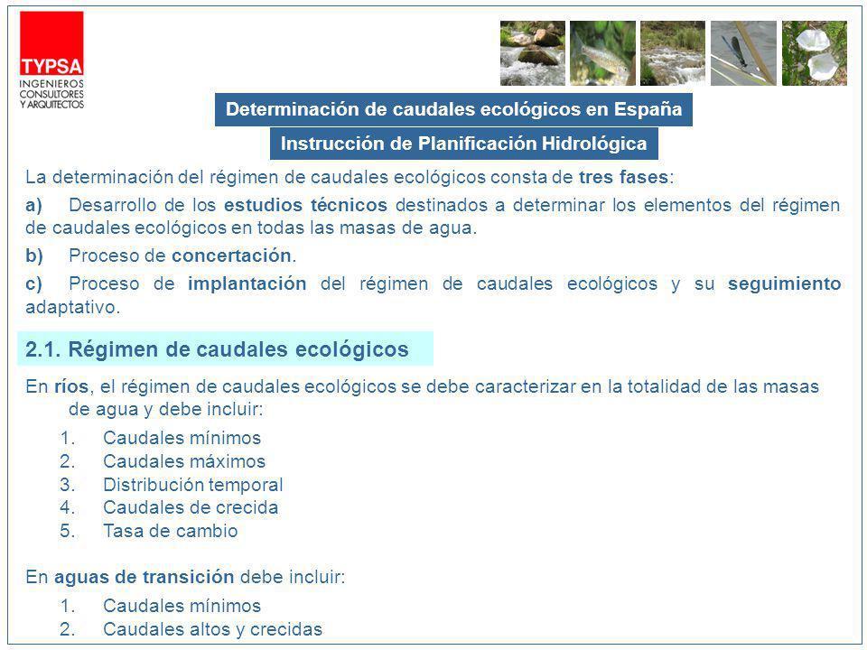 2.1. Régimen de caudales ecológicos