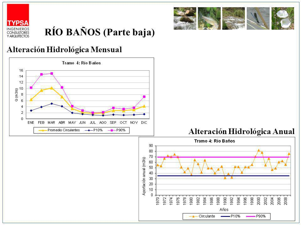 RÍO BAÑOS (Parte baja) Alteración Hidrológica Mensual