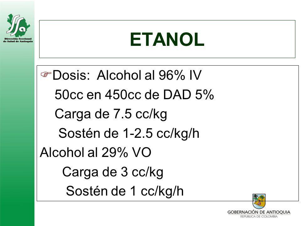 ETANOL Dosis: Alcohol al 96% IV 50cc en 450cc de DAD 5%