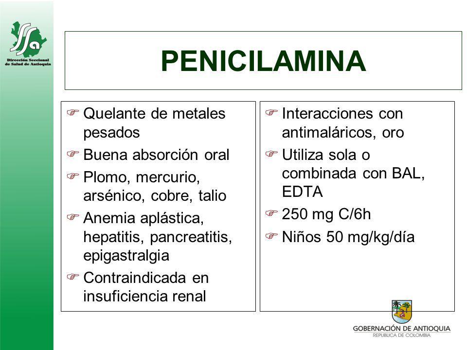 PENICILAMINA Quelante de metales pesados Buena absorción oral