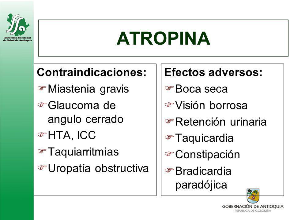 ATROPINA Contraindicaciones: Miastenia gravis
