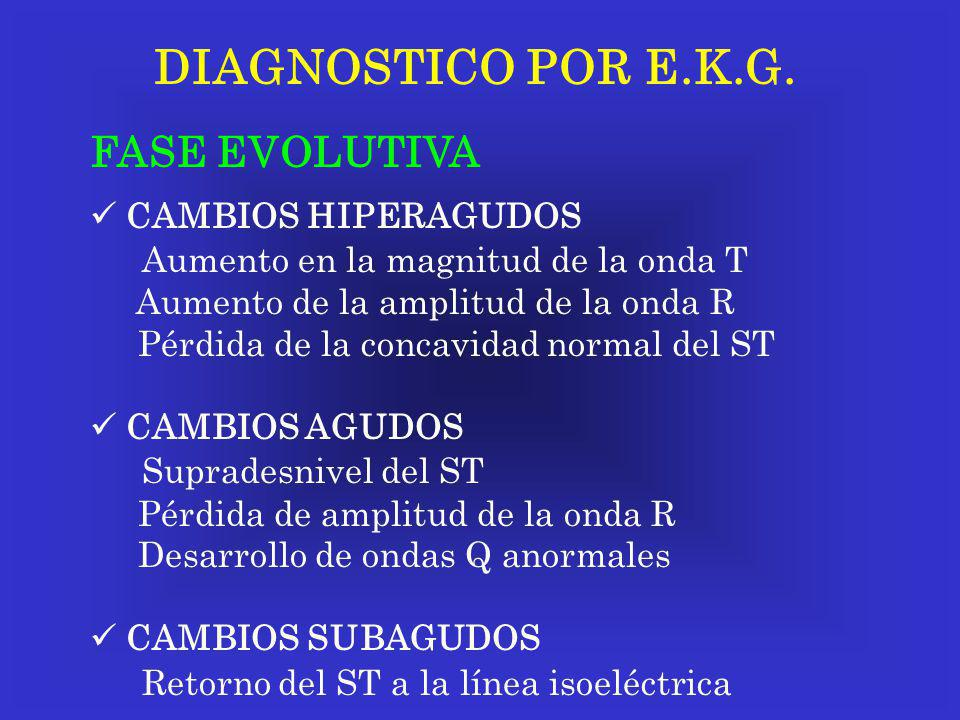 DIAGNOSTICO POR E.K.G. FASE EVOLUTIVA