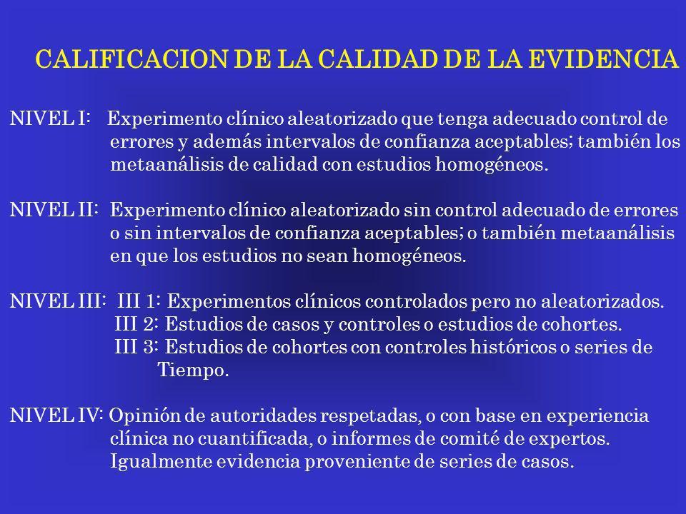CALIFICACION DE LA CALIDAD DE LA EVIDENCIA