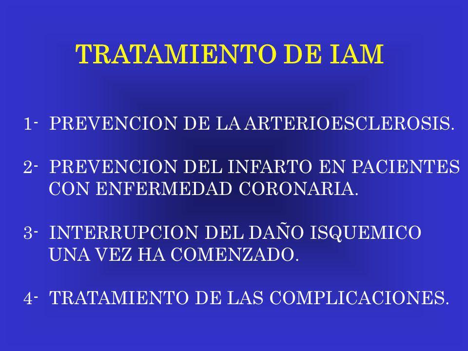TRATAMIENTO DE IAM 1- PREVENCION DE LA ARTERIOESCLEROSIS.