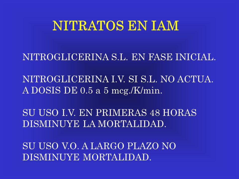 NITRATOS EN IAM NITROGLICERINA S.L. EN FASE INICIAL.