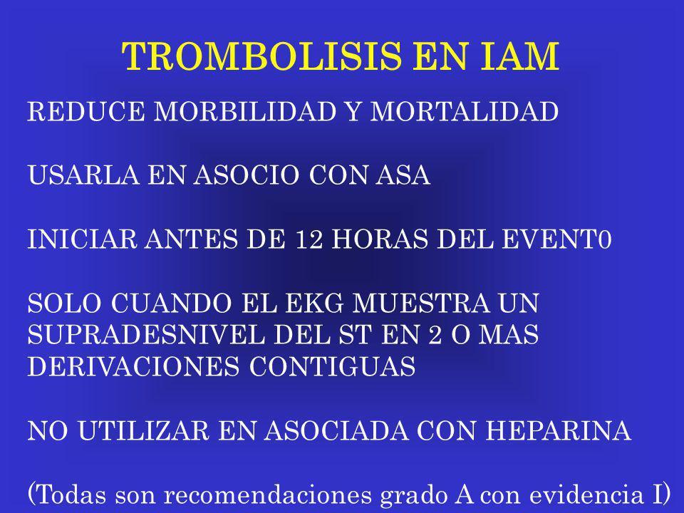 TROMBOLISIS EN IAM REDUCE MORBILIDAD Y MORTALIDAD