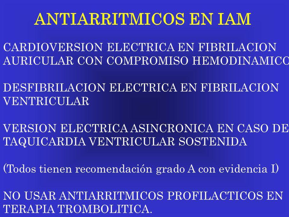 ANTIARRITMICOS EN IAM CARDIOVERSION ELECTRICA EN FIBRILACION