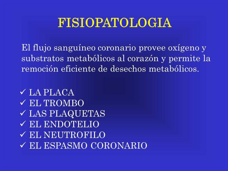 FISIOPATOLOGIA El flujo sanguíneo coronario provee oxígeno y