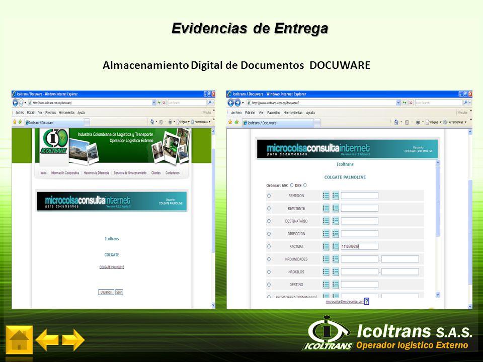Evidencias de Entrega Almacenamiento Digital de Documentos DOCUWARE