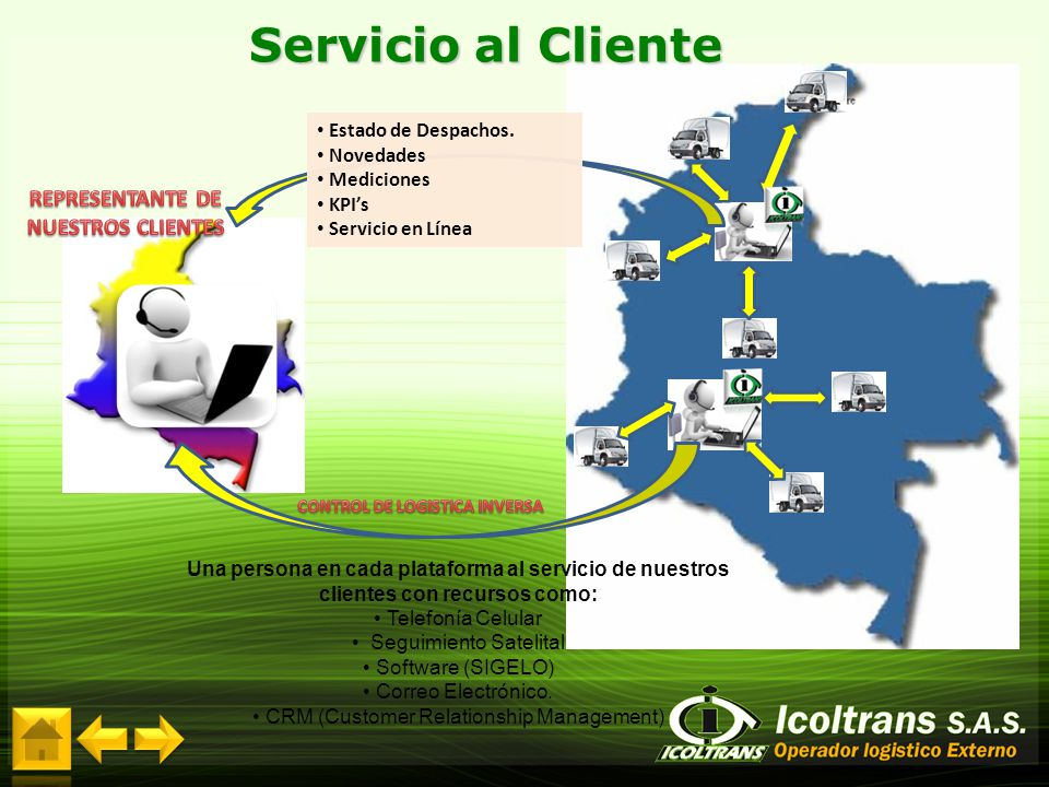 REPRESENTANTE DE NUESTROS CLIENTES CONTROL DE LOGISTICA INVERSA