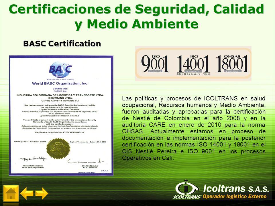 Certificaciones de Seguridad, Calidad y Medio Ambiente