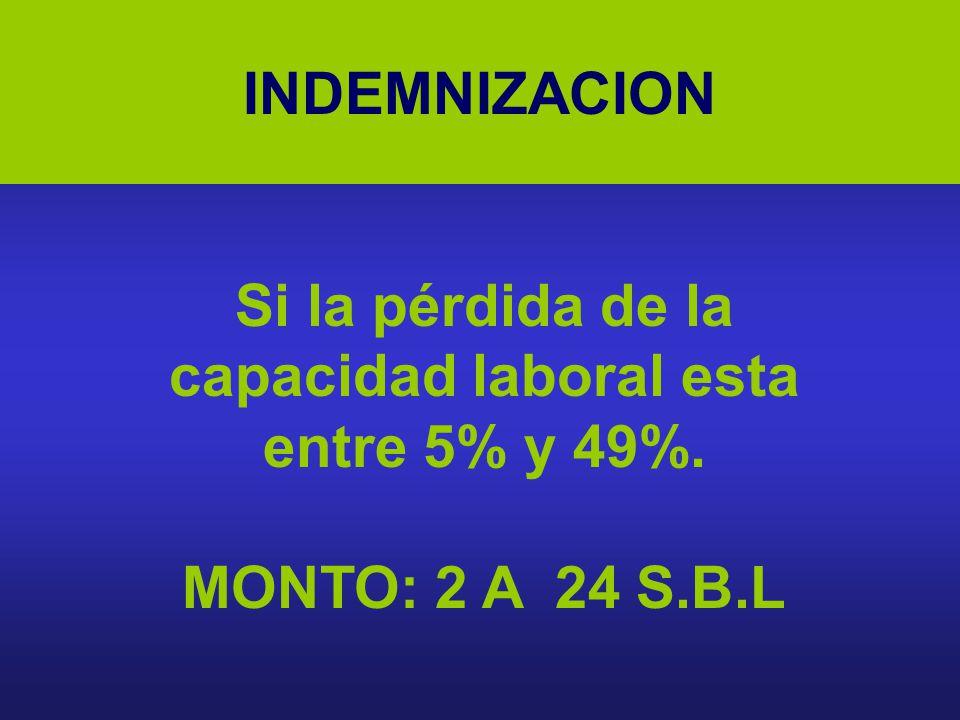 Si la pérdida de la capacidad laboral esta entre 5% y 49%.